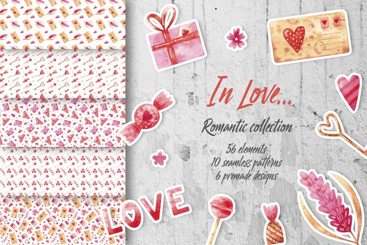 In Love. Romantic watercolor collection for Valentines day