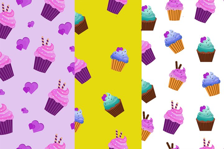 patterns with delicious cream muffin Eps 10