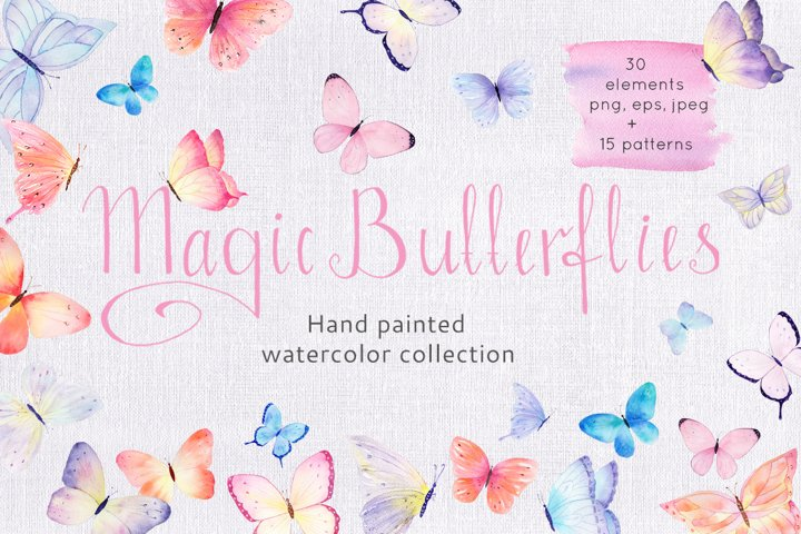 Butterfly Watercolor Clipart Collection
