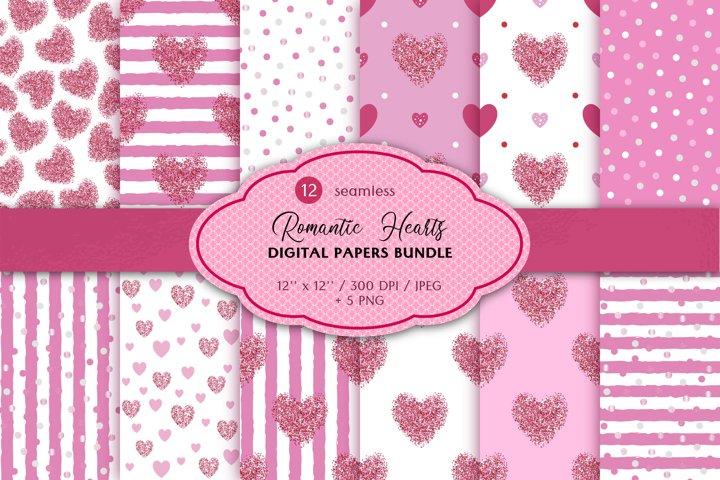 Hearts Polka dot Seamless Patterns, Valentine Digital Paper
