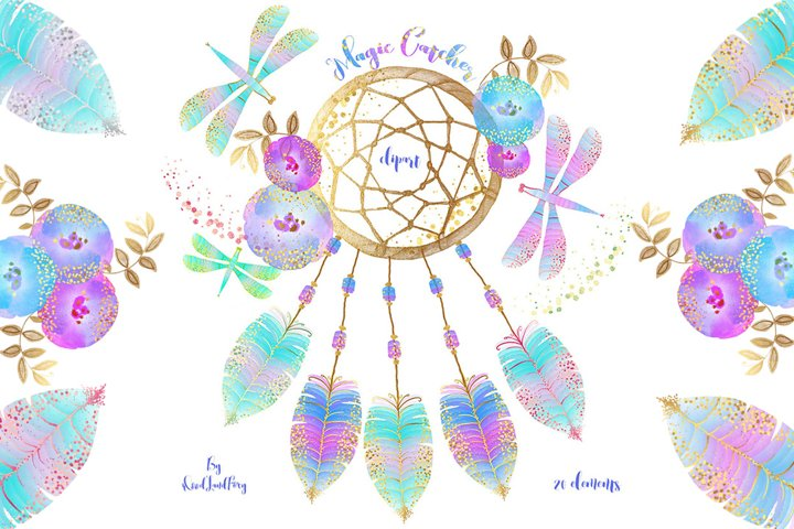 Dream catcher clip art, digital watercolor clipart, feathers with gold confetti, flowers, dragonflies, Translucent and neon effects, magic