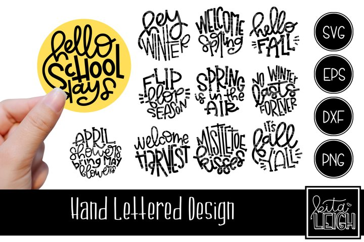 Seasonal Hand Lettered Rounds Set 2