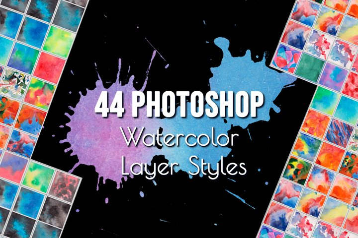 Watercolor Photoshop Layer Styles Effects. Text style