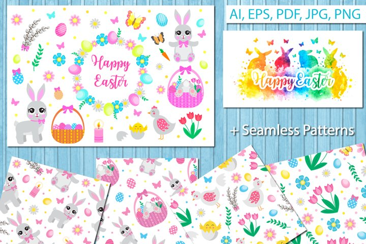 Happy Easter set objects, design elements. Spring collection