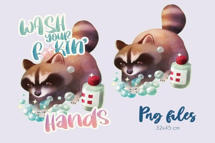 Raccoon clipart Wash your hands, digital png
