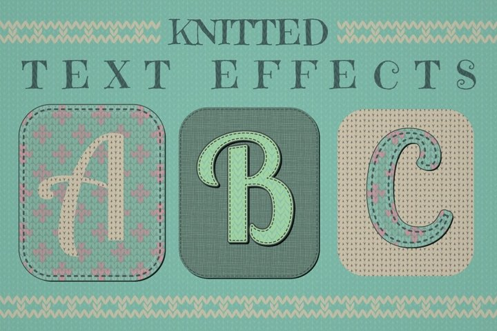 Knitted Text Effects is a set of 20 Graphic Styles. Handmade