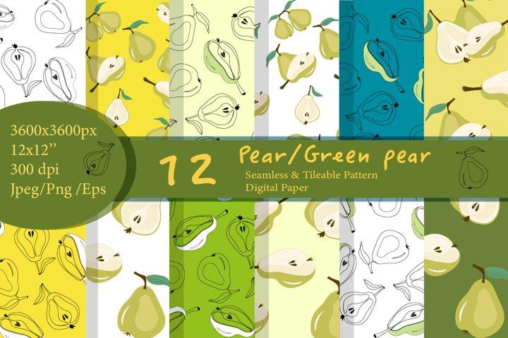 Pear pattern. Pear digital paper.