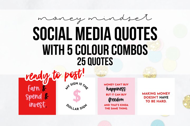25 x Pink & Red Money Mindset Social Media Quotes Pack