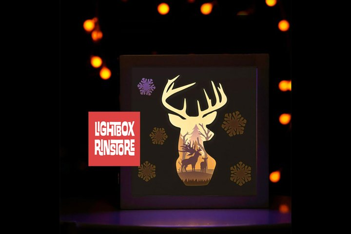 #23 Deer Spirit, 3D Shadow box paper cut lightbox