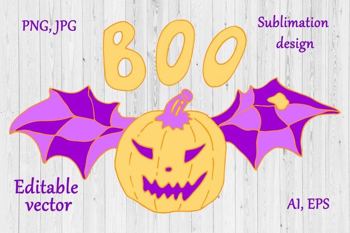 Halloween Sublimation Design - Pumpkin & But Wings Clipart