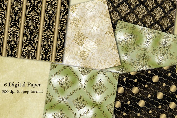 6 Victorian damask seamless pattern. Collection of papers