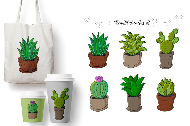 Set of cartoon images of cacti in flower pots