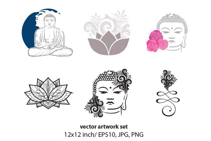 Amitabha Buddha - VECTOR ARTWORK SET