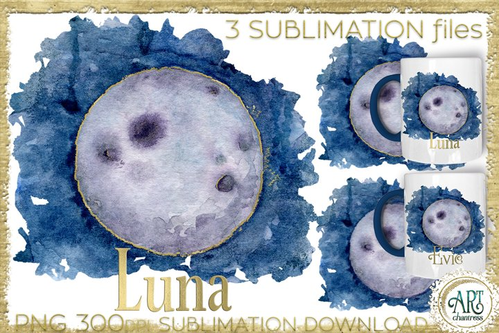 Sublimation Moon Watercolour 3 PNG files graphics with gold