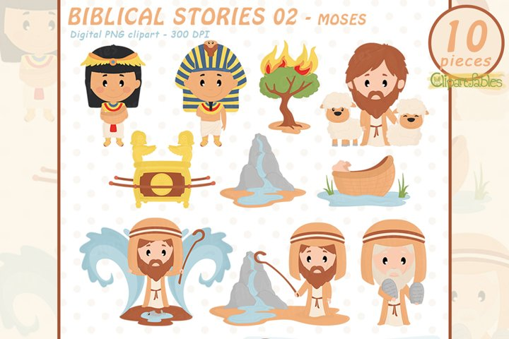 Cute MOSES clipart, Biblical stories - INSTANT download