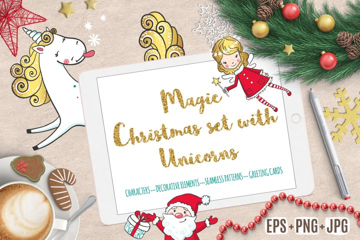 Magic Christmas set with Unicorns