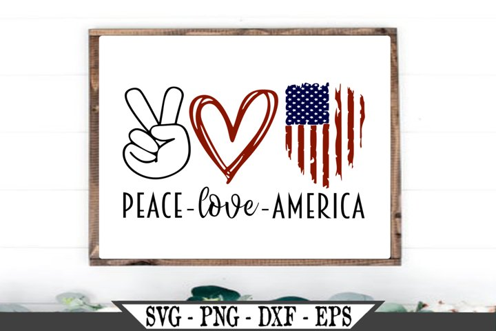 Peace Love America Distressed American Flag SVG