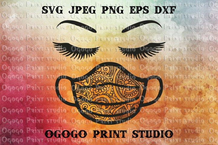 Face mask SVG, Quarantine SVG, Zentangle SVG, Mandala svg
