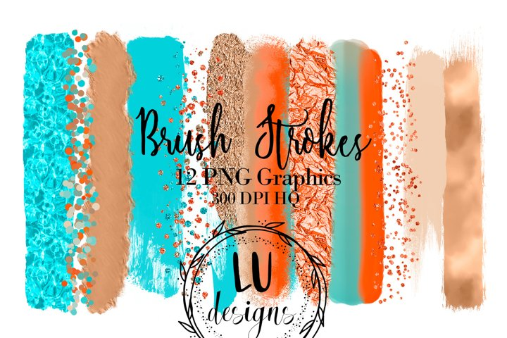 Beach Brush Strokes Clipart, Summer Graphic, Glitter Overlay