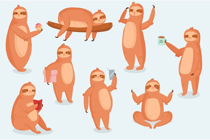 Sloth Animal Character Different Poses