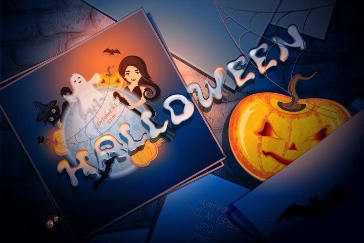 Halloween Background with Cartoon Characters