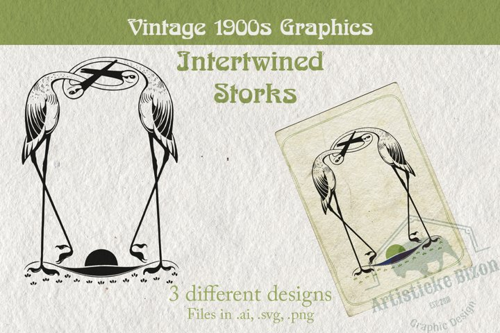 Intertwined Storks Vintage 1900s Graphic