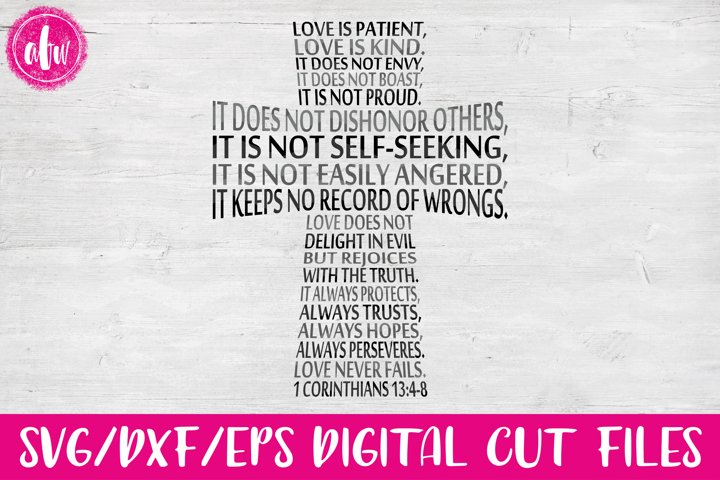 Love is Patient Cross - SVG, DXF, EPS Cut File