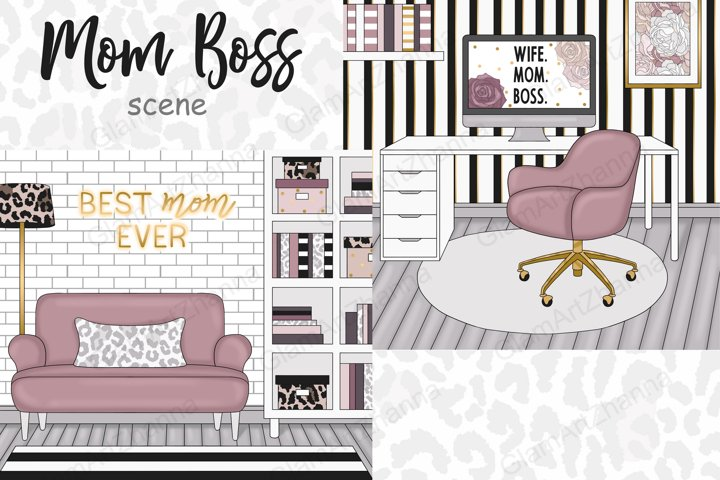 Mom Boss SCENE Blogger Fashion Clipart Stickers PNG files