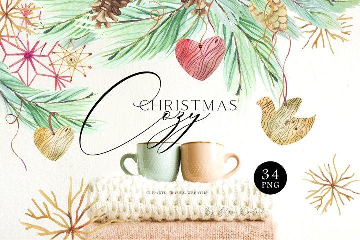 Eco friendly christmas clipart, Watercolor Christmas wreath