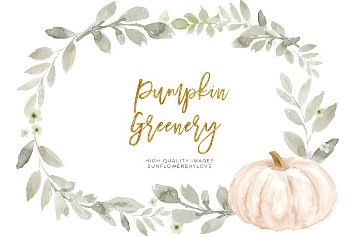 Fall White Pumpkin Clip art, White Greenery Pumpkin clipart