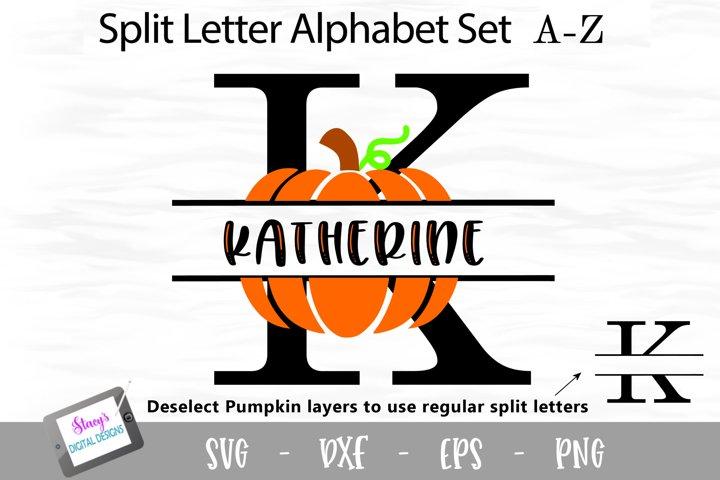Pumpkin Split Letters A-Z - 26 Fall Split monogram letters