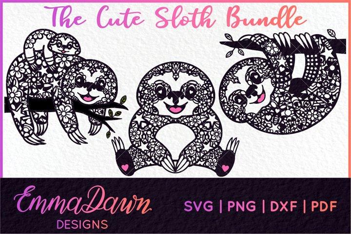 THE CUTE SLOTH SVG BUNDLE MANDALA / ZENTANGLE 3 DESIGNS