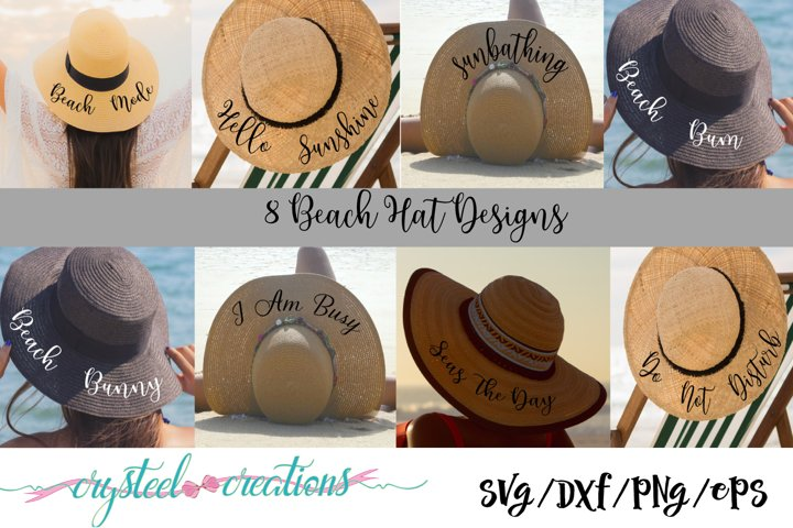 Beach Hat Bundle 8 files SVG, DXF, PNG,EPS