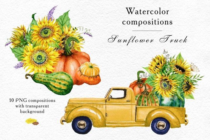 Sunflower Pumpkins harvest truck, Fall PNG compositions