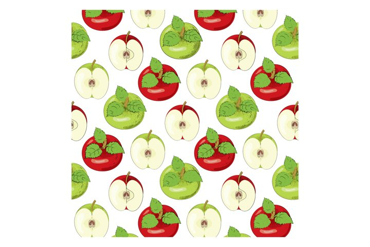 Pattern with red and green apples. Vector illustration.