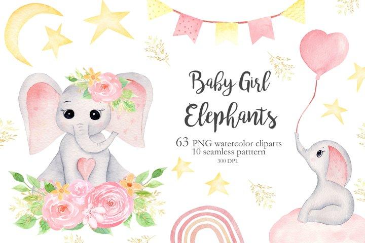 Watercolor Baby Girl Elephants Collection