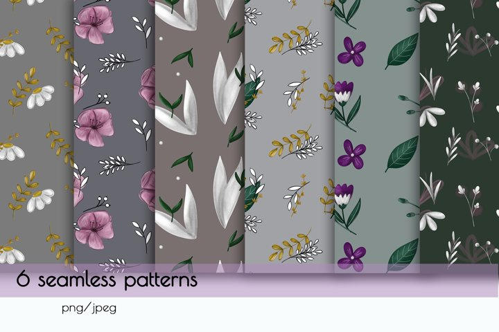 Herbal and flower seamless patterns