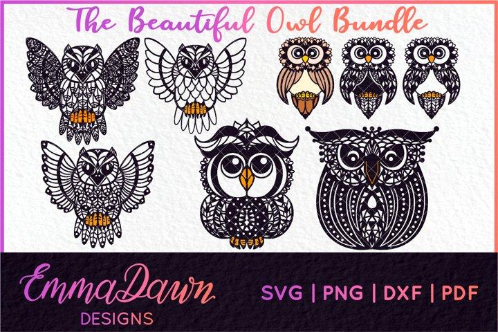 THE BEAUTIFUL OWL SVG BUNDLE MANDALA / ZENTANGLE 4 DESIGNS