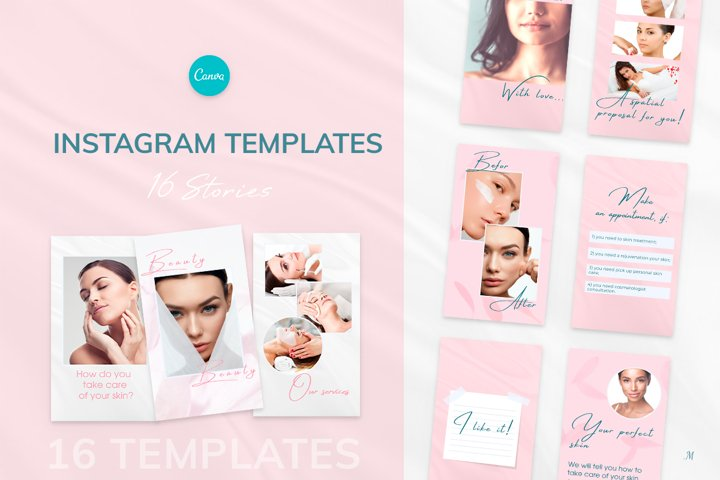 Beauty Pink Stories, Instagram Canva Tempates ROSY