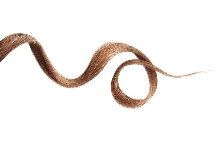 Brown hair wavy stripe on white, isolated