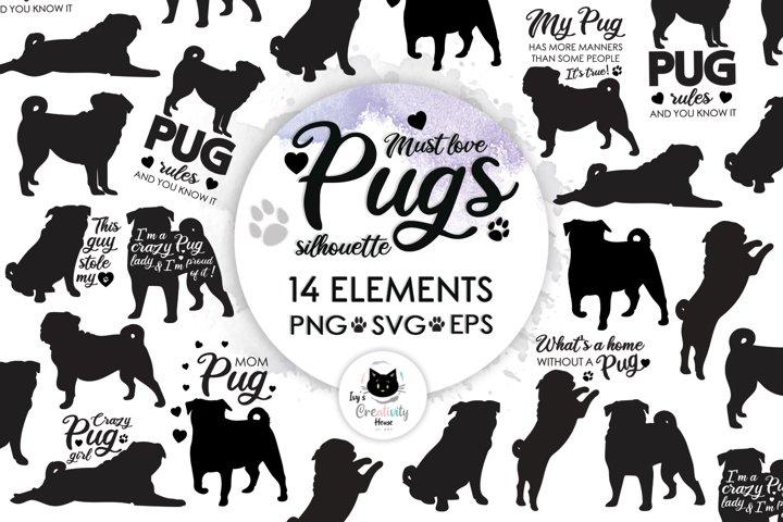 Pug Dog SVG Silhouette Cricut Bundle   Dog Mom Svg Clipart