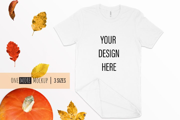 Fall T-Shirt Mockup I Bella Canvas 3001 White Mockup