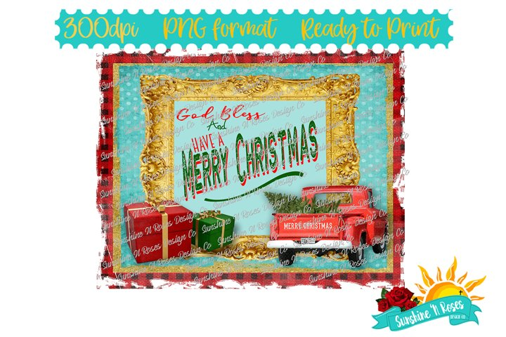 God Bless & Merry Christmas Vintage Truck Sublimation PNG