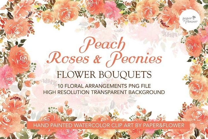 Peach Rose Floral Watercolor Bouquet Set
