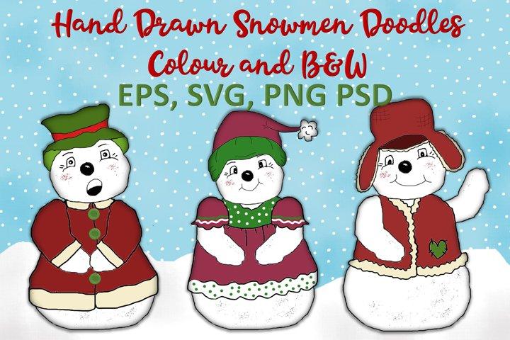 Christmas Snowmen Doodles Clipart SVG, PNG, EPS, PSD example