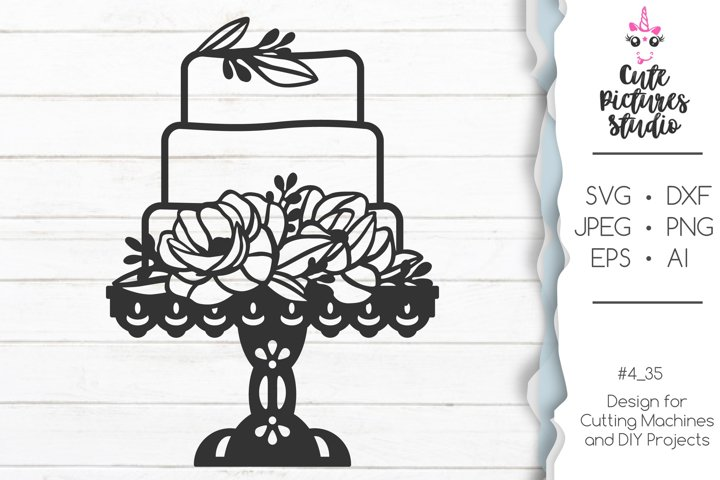 Cake with peony flowers SVG, Floral Wedding cake SVG png dxf