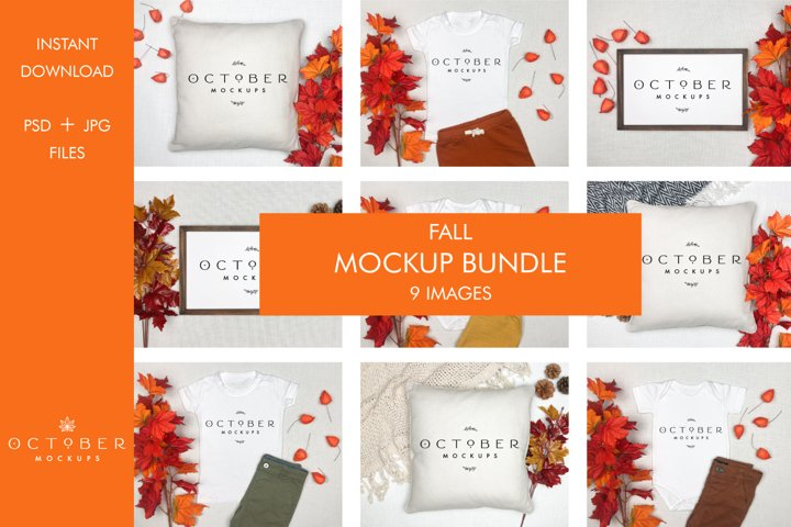 Fall Mockup Bundle | Mockup Bundle Autumn | JPG PSD files
