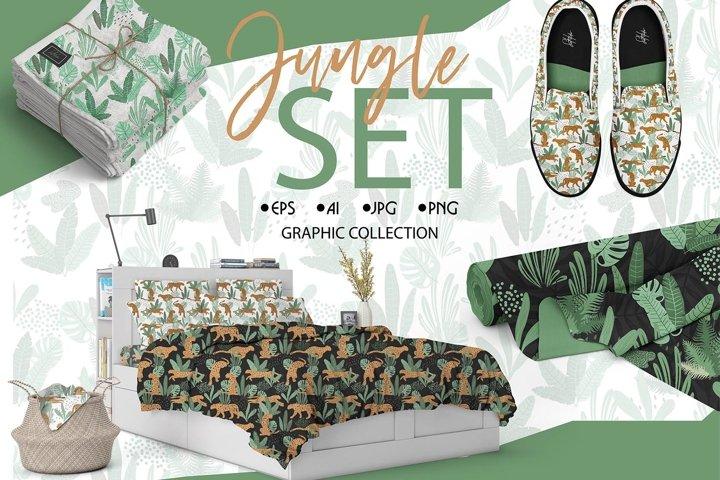 jungle and cheetah patterns and prints set