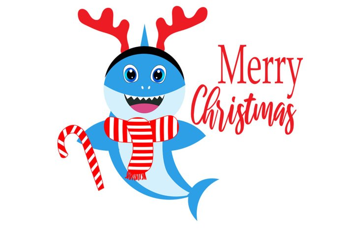 Christmas Shark SVG, Cut Files, Merry Christmas Svg, Baby