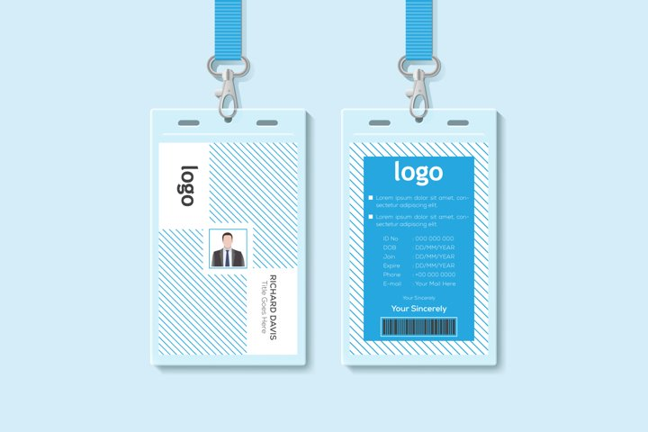 Id Card Vector. security badge, press event pass template.